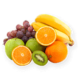 A pile of grapes, oranges, bananas, kiwi and apples.