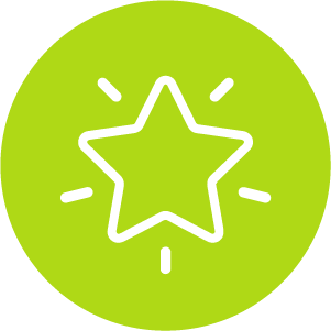 White vector illustration of a shining star in a green circle.