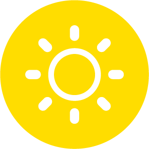 White vector illustration of a sun in a yellow circle.