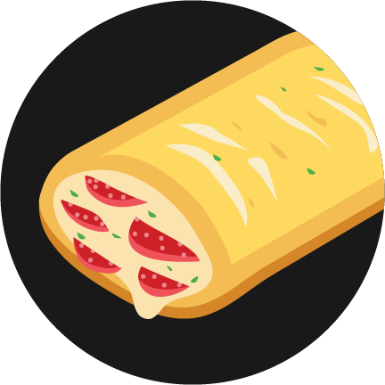A black circle with an illustrated pepperoni Hot Pockets® with melty cheese in the center.