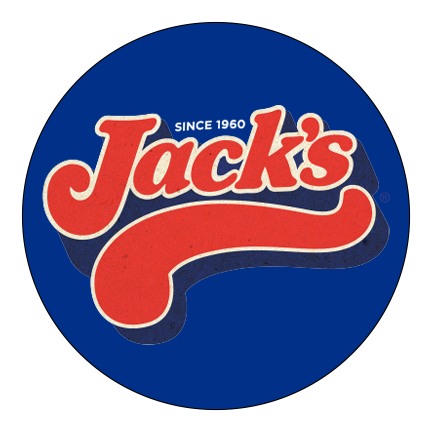 Jack's written in red letters on a blue circular background