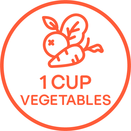 "An illustrated carrot and radish above the words ""1 CUP VEGETABLES"" in an orange circle."