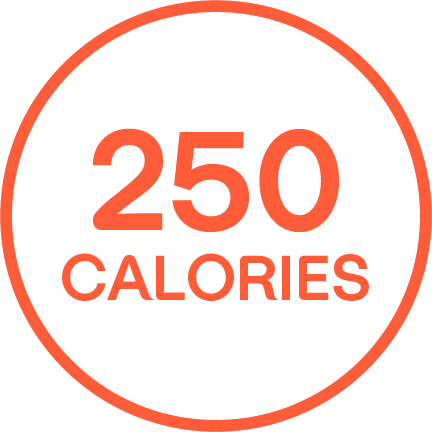 """250 CALORIES"" written in an orange outlined circle."