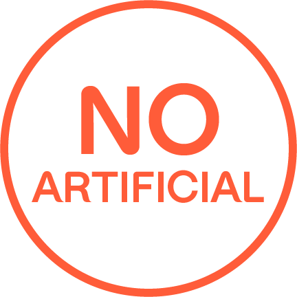 """NO ARTIFICIAL"" written in an orange outlined circle."
