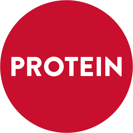 "A red circle with the word ""PROTEIN"" written in white."