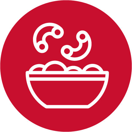 A red circle with a white illustrated bowl of pasta.