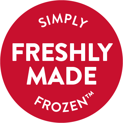 "A red circle with the words ""Freshly Made, Simply Frozen™"" written in white."