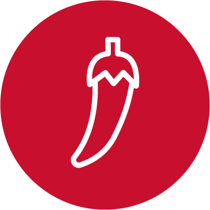 A red circle with a white illustrated chili pepper.