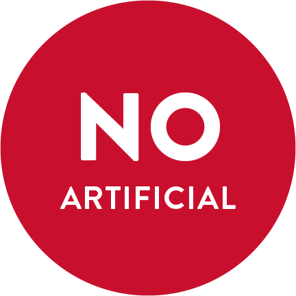 "A red circle with the words ""NO ARTIFICIAL"" written in white."