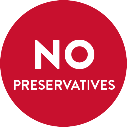 "A red circle with the words ""NO PRESERVATIVES"" written in white."