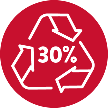 "A red circle with a white recycling symbol with ""30%"" in the center."