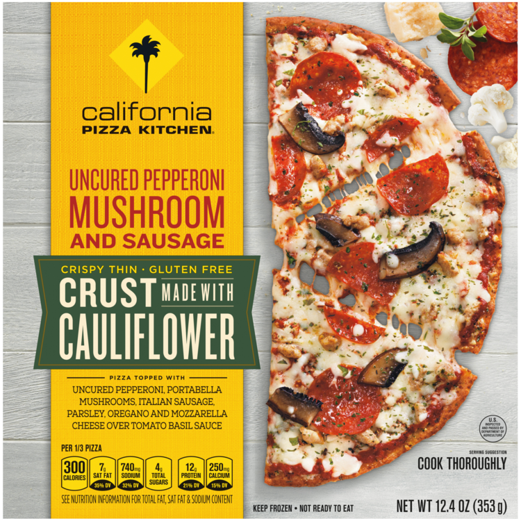 Uncured Pepperoni Mushroom Sausage Crust Made With Cauliflower Official Cpk Frozen