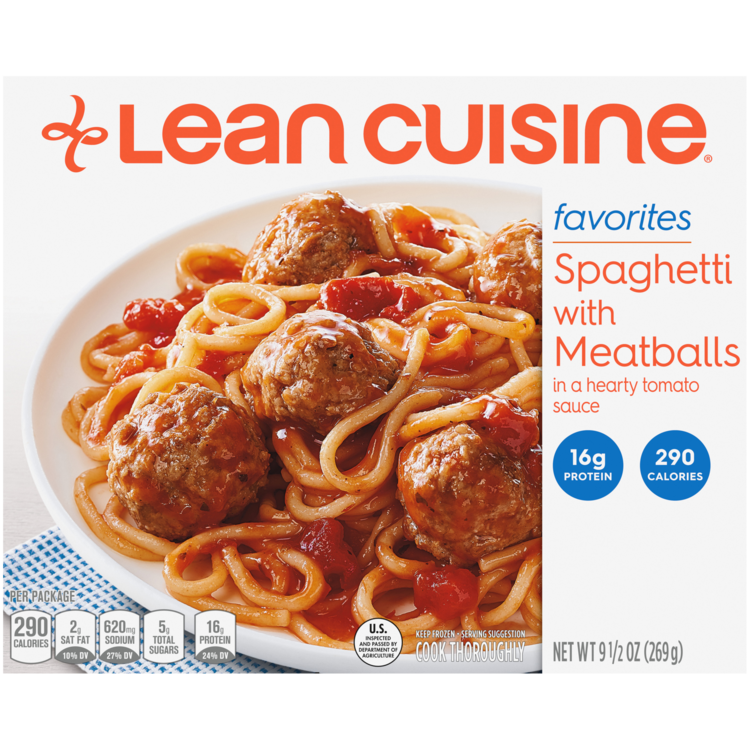 Front view photograph of a box of Spaghetti with Meatballs Frozen Meal featuring the orange Lean Cuisine logo and the favorites label beside the product name and spaghetti and meatballs in a hearty tomato sauce in a white bowl on a white surface.