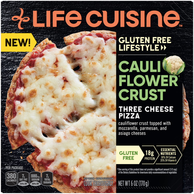 Front view photograph of a box of Cauliflower Crust Three Cheese Pizza featuring the orange Life Cuisine logo and the Gluten Free Lifestyle label beside the product name, a cauliflower head, and a whole pizza with a small slice being pulled away against a black textured surface.