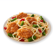 Image of Lean Cuisine Sesame Chicken on a white plate loaded with breaded chicken, pasta, cut green beans and red peppers in a savory plum sauce.