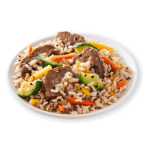 Image of Lean Cuisine Sweet & Spicy Korean-Style Beef on a white plate loaded with beef, brown rice and vegetables in a sweet & spicy Korean-style sauce.