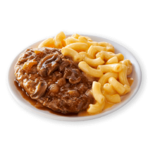 Image of Lean Cuisine Salisbury Steak with Macaroni and Cheese on a white plate loaded with steak in a savory brown gravy with mushrooms and a side of macaroni & cheese.