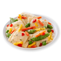 Image of Lean Cuisine Butternut Squash Ravioli on a white plate loaded with a medley of snap peas, red peppers and carrots.