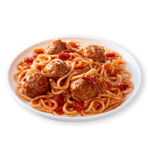 Image of Lean Cuisine Spaghetti with Meatballs on a white dish loaded with meatballs, spaghetti, and hearty tomato sauce.