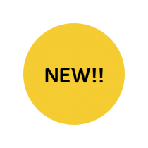 "A yellow circle with ""NEW!!"" written in black text in the center."