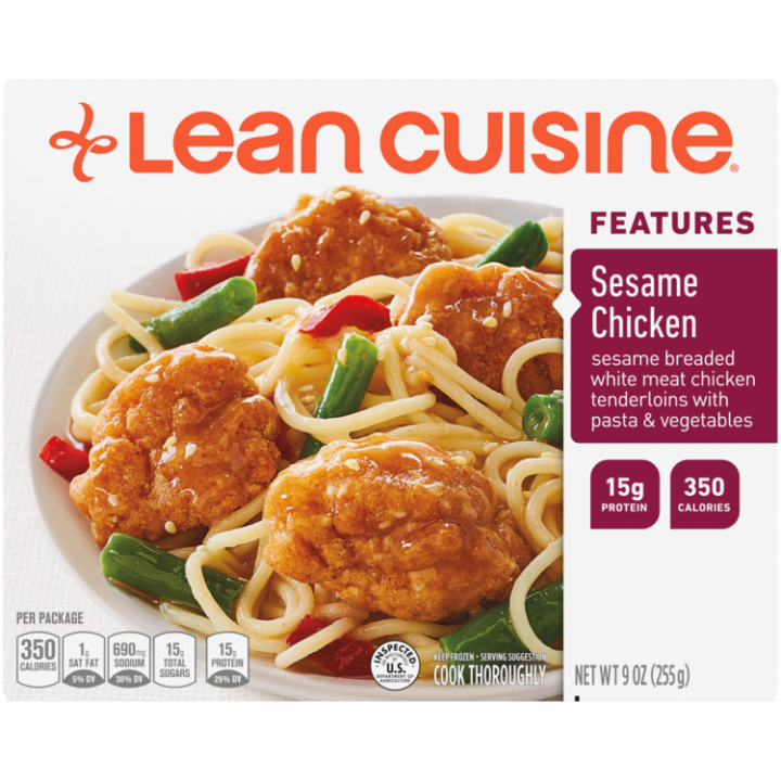 Front view photograph of a box of Sesame Chicken Frozen Meal featuring the orange Lean Cuisine logo and the features label beside the product name and chicken, pasta, cut green beans and red peppers with a savory plum sauce in a white bowl on a white surface.