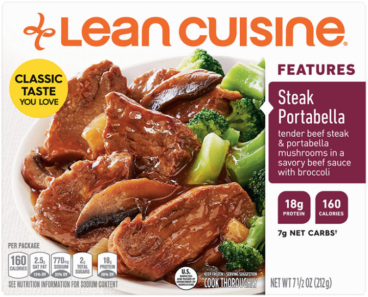Front view photograph of a box of Steak Portabella Frozen Meal featuring the orange Lean Cuisine logo and the features label beside the product name and prime rib beef and portabella mushrooms in a savory brown sauce with a side of broccoli in a white bowl on a white surface.