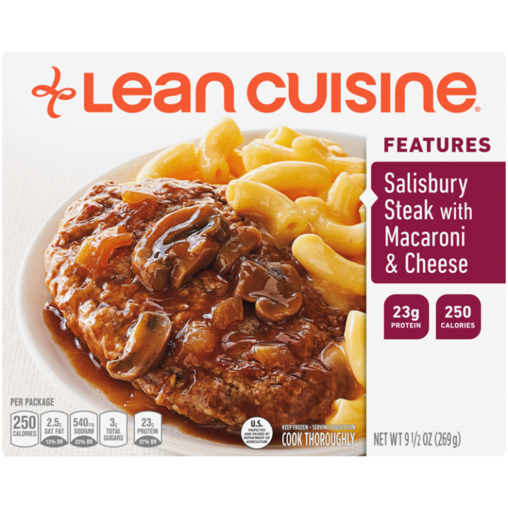 Front view photograph of a box of Salisbury Steak with Macaroni and Cheese Frozen Meal featuring the orange Lean Cuisine logo and the features label beside the product name and salisbury steak in a savory brown gravy with mushrooms and a side of macaroni and cheese in a white bowl on a white surface.