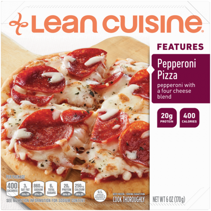 Front view photograph of a box of Pepperoni Pizza Frozen Meal featuring the orange Lean Cuisine logo and the features label beside the product name and a crispy crust pizza with pepperoni, basil, garlic and a blend of creamy reduced fat parmesan, asiago, Romano and mozzarella cheeses on a wood pizza paddle and a white surface.