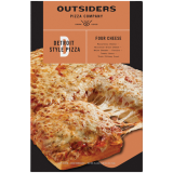 Front view of photograph of packaging for Detroit Style Four Cheese Pizza with Pizza on Orange Label