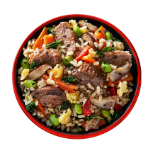 Overhead image of Korean Style BBQ Beef Bowl in a red bowl.