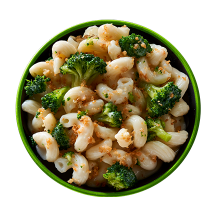 Overhead image of Vermont White Cheddar Mac & Broccoli Bowl in a green bowl.