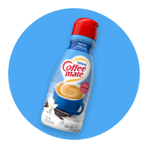A blue circle icon with a bottle of Coffee mate® creamer.