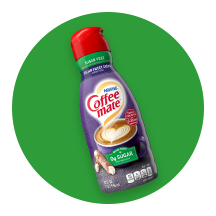 A green circle icon with a bottle of Sugar Free Coffee mate® creamer.