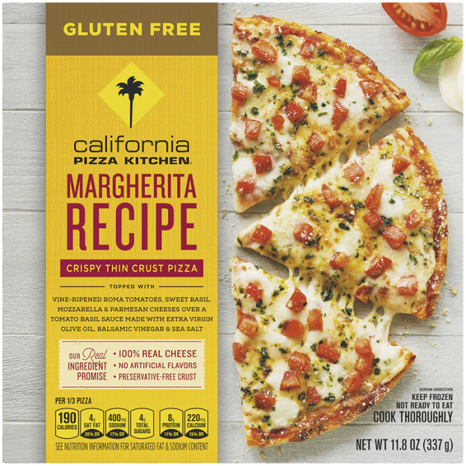 Front view of photograph of packaging for Gluten Free Margherita Pizza showing the crispy thin crust label, gluten free labe