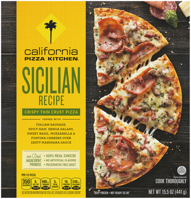 Front view of photograph of packaging for Sicilian Recipe Pizza showing the crispy thin crust label and half a pizza cut in