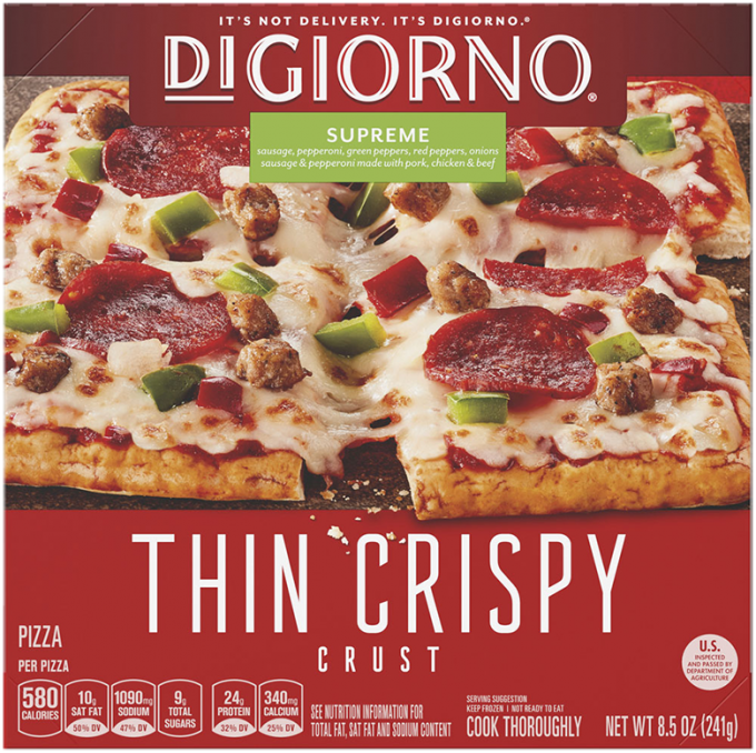 Red cardboard packaging of DiGiorno Small Sized Thin Crust Supreme Pizza featuring the DiGiorno logo above the product name