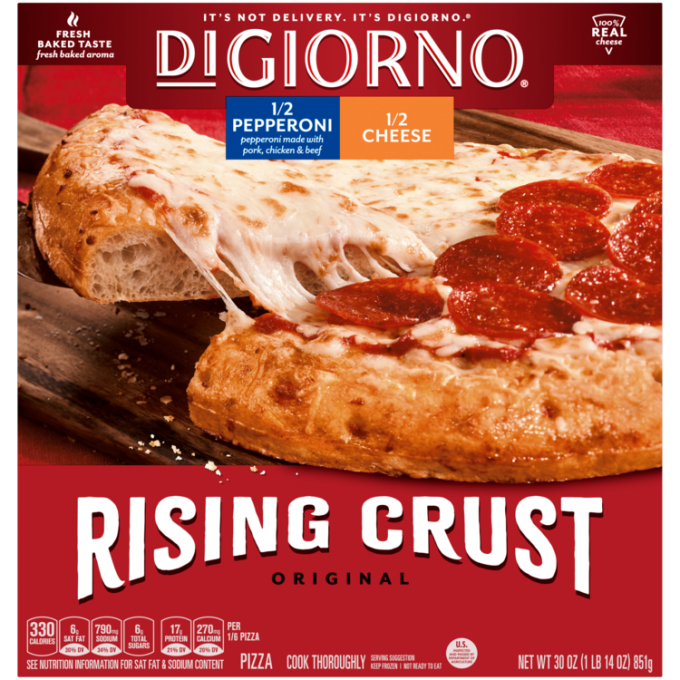 Red cardboard packaging of DiGiorno Rising Crust 1/2 Pepperoni & 1/2 Cheese Pizza featuring the DiGiorno logo above the prod