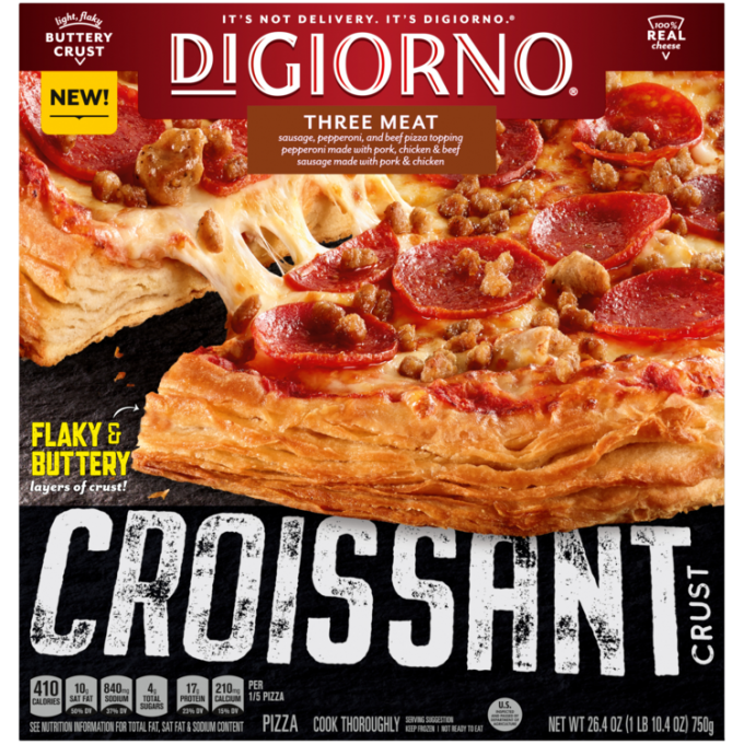 Red and black cardboard packaging of DiGiorno Croissant Crust Three Meat Pizza featuring the DiGiorno logo above the product
