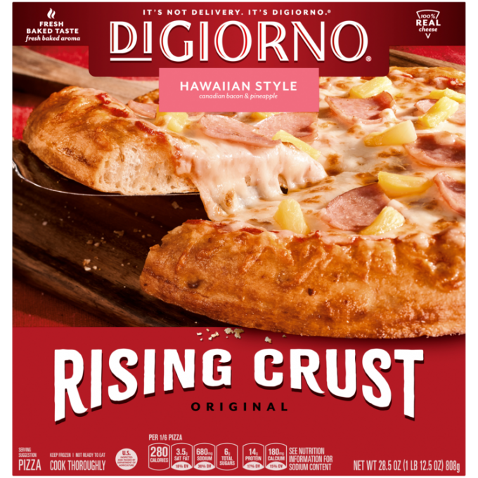 Red cardboard packaging of DiGiorno Rising Crust Hawaiian pizza featuring the DiGiorno logo above the product name on a pink