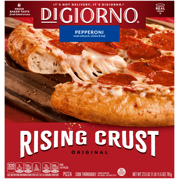 Red cardboard packaging of DiGiorno Rising Crust Pepperoni pizza featuring the DiGiorno logo above the product name on a blu