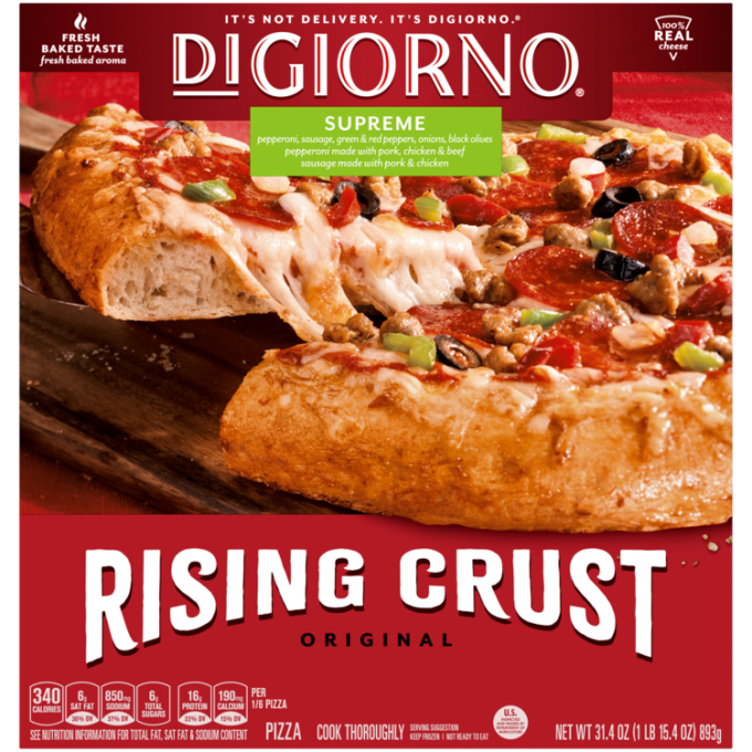 Red cardboard packaging of DiGiorno Rising Crust Supreme pizza featuring the DiGiorno logo above the product name on a green