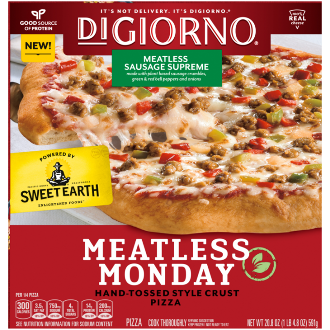 Red cardboard packaging of DiGiorno Hand-Tossed Meatless Supreme Pizza featuring the DiGiorno logo above the product name on