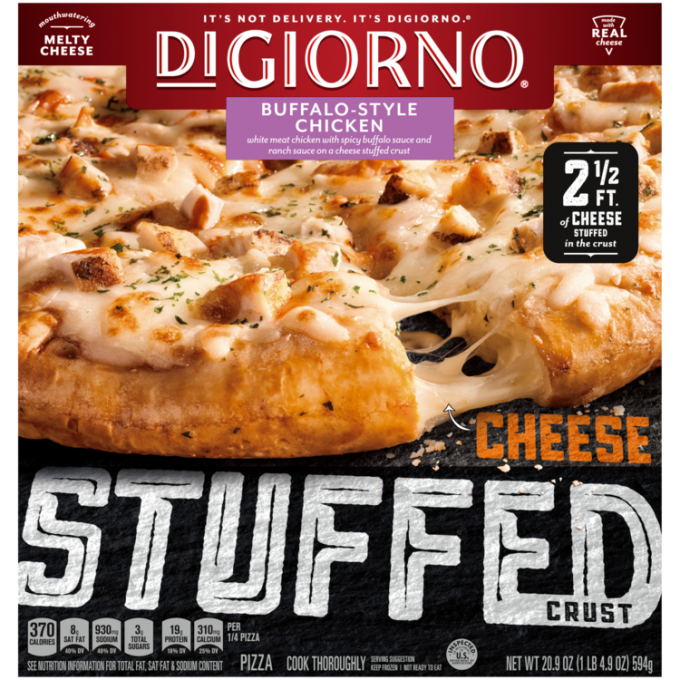 Red and black cardboard packaging of DiGiorno Stuffed Crust Buffalo-Style Chicken Pizza featuring the DiGiorno logo above th