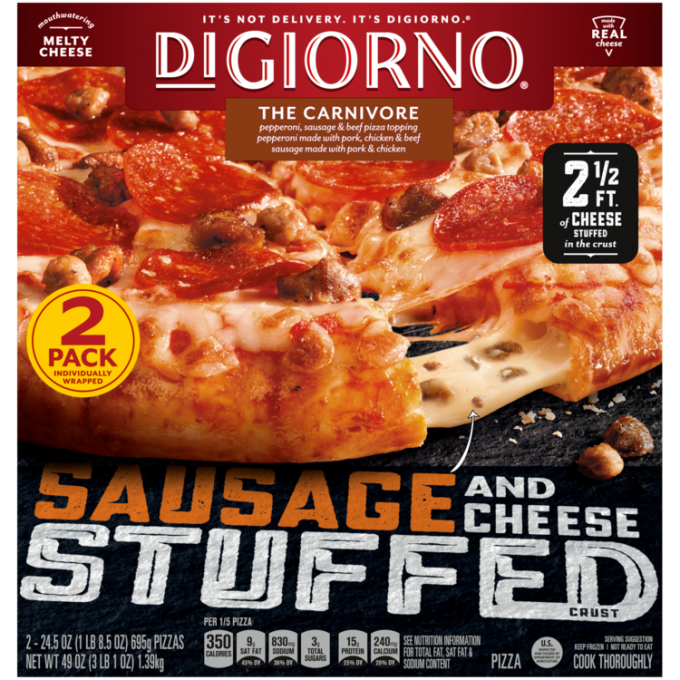 Red and black cardboard packaging of DiGiorno Carnivore Pizza featuring the DiGiorno logo above the product name on a dark r