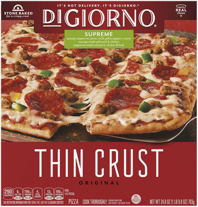 Red cardboard packaging of DiGiorno Original Thin Crust Supreme Pizza featuring the DiGiorno logo above the product name on
