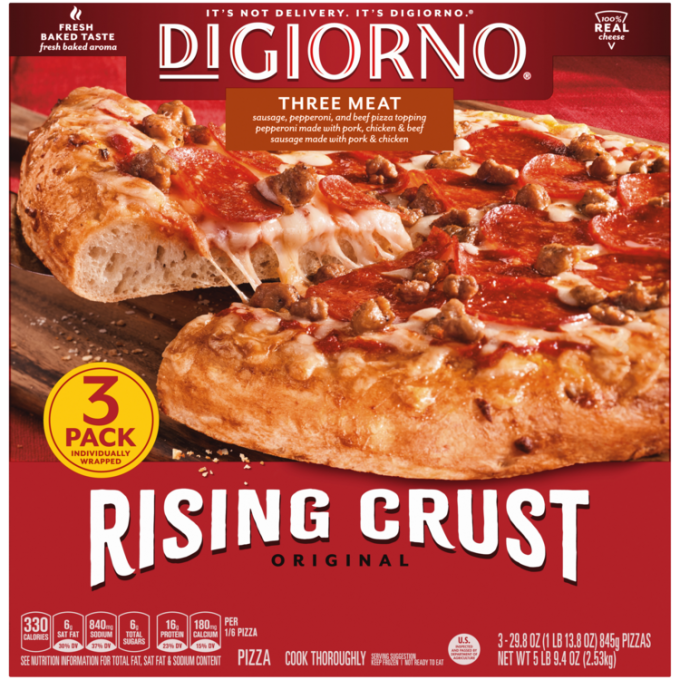 Red cardboard packaging of DiGiorno Rising Crust Three Meat pizza featuring the DiGiorno logo above the product name on a re