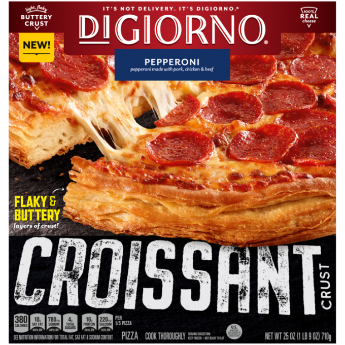 Red and black cardboard packaging of DiGiorno Croissant Crust Pepperoni Pizza featuring the DiGiorno logo above the product