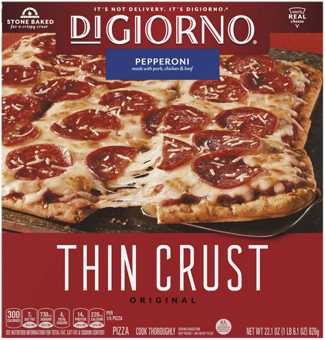 Red cardboard packaging of DiGiorno Original Thin Crust Pepperoni Pizza featuring the DiGiorno logo above the product name o