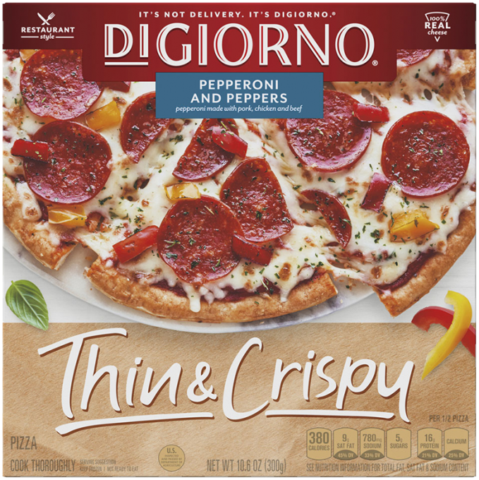 Red and tan cardboard packaging of DiGiorno Thin & Crispy Pepperoni and Peppers pizza featuring the DiGiorno logo above the