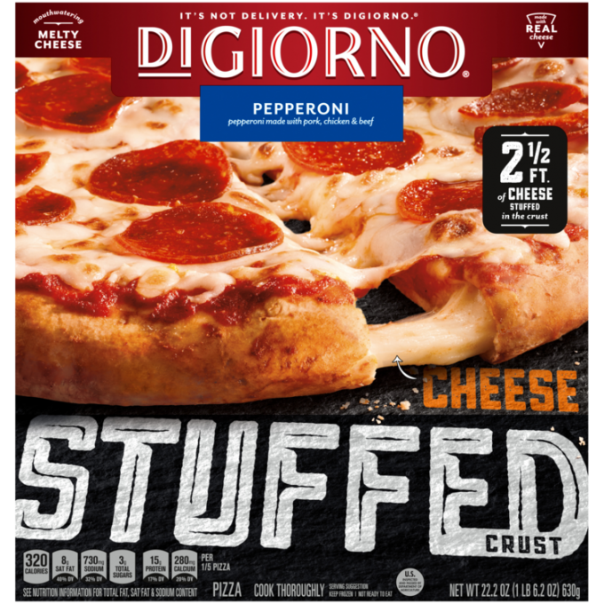 Red and black cardboard packaging of DiGiorno Stuffed Crust Pepperoni Pizza featuring the DiGiorno logo above the product na